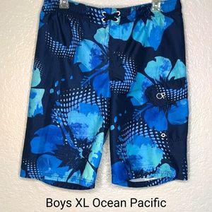 OP Blue Palm Tree Surf Swim Trunks
